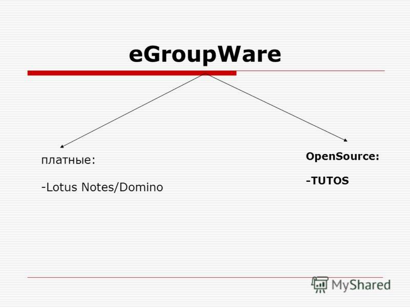 eGroupWare платные: -Lotus Notes/Domino OpenSource: -TUTOS