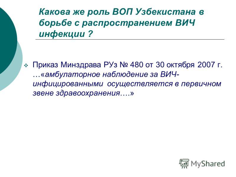 Какова же роль ВОП Узбекистана в борьбе с распространением ВИЧ инфекции ? Приказ Минздрава РУз 480 от 30 октября 2007 г. …«амбулаторное наблюдение за ВИЧ- инфицированными осуществляется в первичном звене здравоохранения….»
