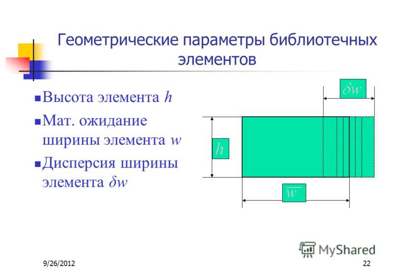 9/26/201222 Геометрические параметры библиотечных элементов Высота элемента h Мат. ожидание ширины элемента w Дисперсия ширины элемента δw