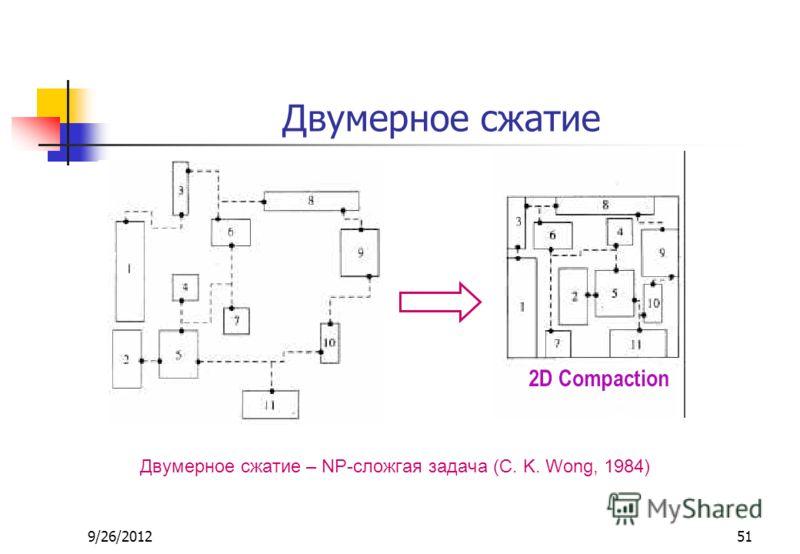 9/26/201251 Двумерное сжатие Двумерное сжатие – NP-сложгая задача (C. K. Wong, 1984)