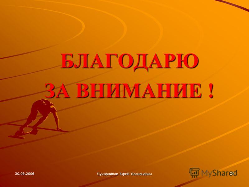 30.06.2006 Сухарников Юрий Васильевич 34 БЛАГОДАРЮ ЗА ВНИМАНИЕ !