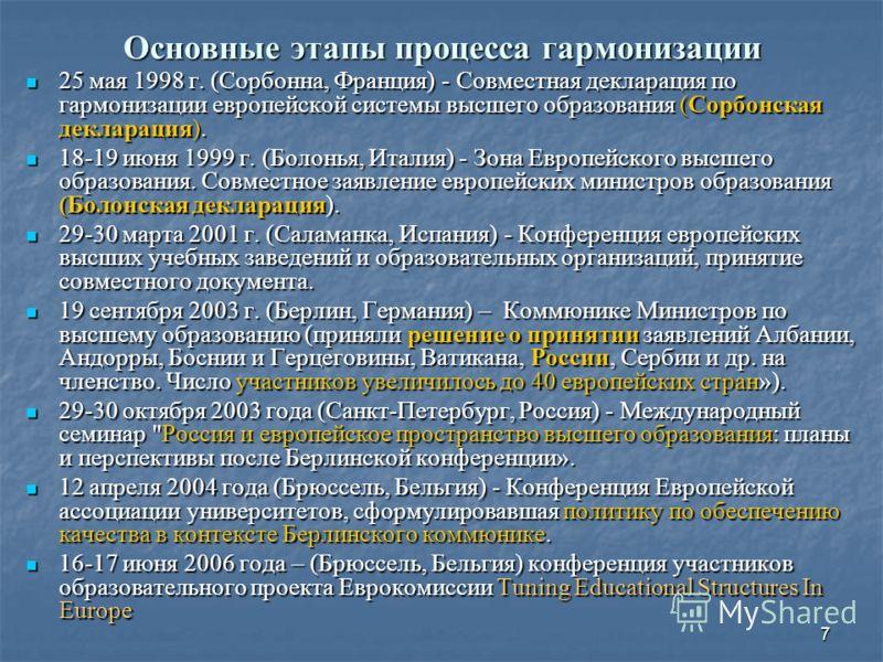 7 Основные этапы процесса гармонизации 25 мая 1998 г. (Сорбонна, Франция) - Совместная декларация по гармонизации европейской системы высшего образования (Сорбонская декларация). 25 мая 1998 г. (Сорбонна, Франция) - Совместная декларация по гармониза