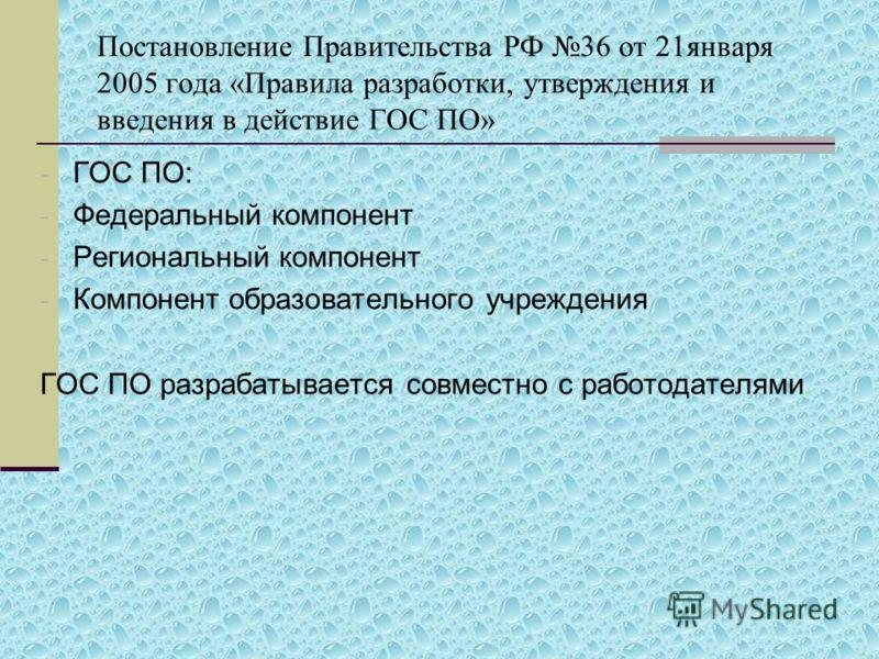 Постановление Правительства РФ 36 от 21января 2005 года «Правила разработки, утверждения и введения в действие ГОС ПО» - ГОС ПО: - Федеральный компонент - Региональный компонент - Компонент образовательного учреждения ГОС ПО разрабатывается совместно