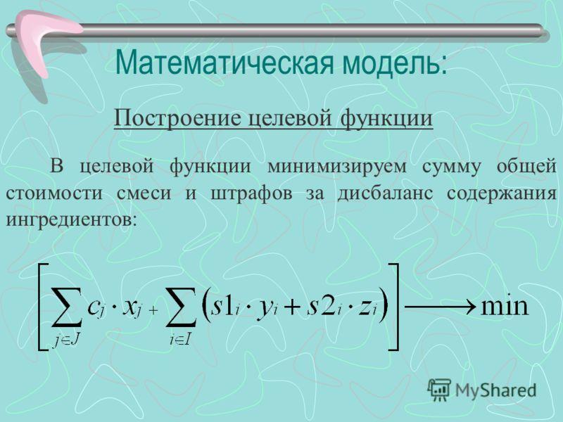Математическая модель: Построение целевой функции В целевой функции минимизируем сумму общей стоимости смеси и штрафов за дисбаланс содержания ингредиентов: