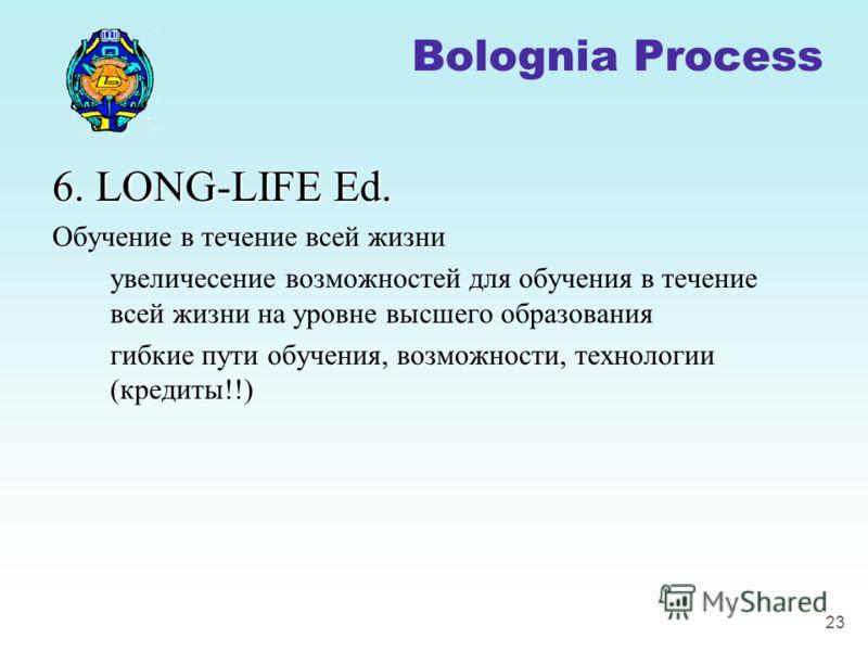 23 6. LONG-LIFE Ed. Обучение в течение всей жизни увеличесение возможностей для обучения в течение всей жизни на уровне высшего образования гибкие пути обучения, возможности, технологии (кредиты!!) Bolognia Process