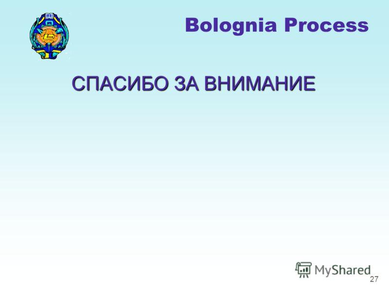 27 СПАСИБО ЗА ВНИМАНИЕ Bolognia Process