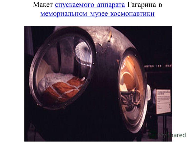Макет спускаемого аппарата Гагарина в мемориальном музее космонавтикиспускаемого аппарата мемориальном музее космонавтики