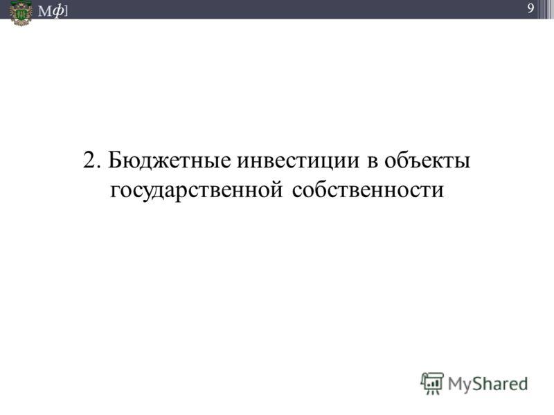 М ] ф 9 2. Бюджетные инвестиции в объекты государственной собственности