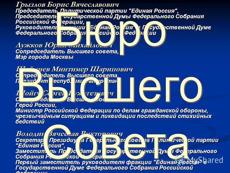 Грызлов Борис Вячеславович Председатель Политической партии