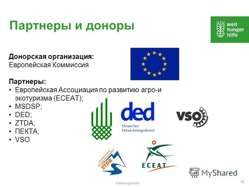 Welthungerhilfe 12 Партнеры и доноры Донорская организация: Европейская Коммиссия Партнеры: Европейская Ассоциация по развитию агро-и экотуризма (ECEAT); MSDSP; DED; ZTDA; ПЕКТА; VSO