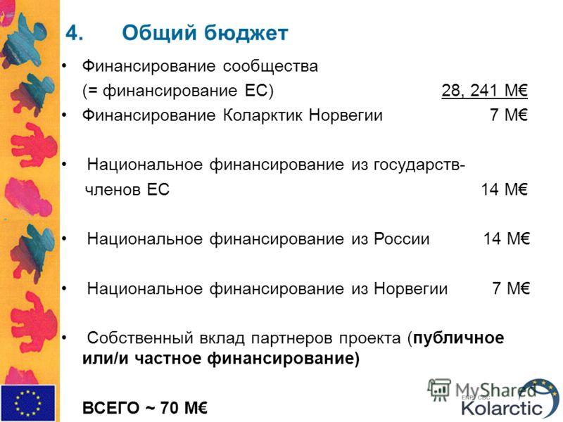4.Общий бюджет Финансирование сообщества (= финансирование ЕС) 28, 241 M Финансирование Коларктик Норвегии 7 M Национальное финансирование из государств- членов ЕС 14 M Национальное финансирование из России 14 M Национальное финансирование из Норвеги