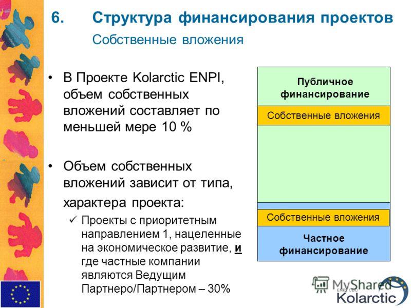 6.Структура финансирования проектов Собственные вложения В Проекте Kolarctic ENPI, объем собственных вложений составляет по меньшей мере 10 % Объем собственных вложений зависит от типа, характера проекта: Проекты с приоритетным направлением 1, нацеле