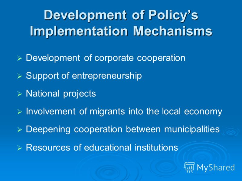 Development of Policys Implementation Mechanisms Development of corporate cooperation Support of entrepreneurship National projects Involvement of migrants into the local economy Deepening cooperation between municipalities Resources of educational i