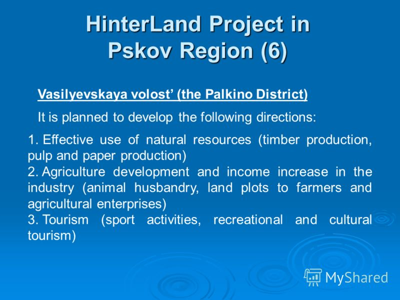 HinterLand Project in Pskov Region (6) Vasilyevskaya volost (the Palkino District) It is planned to develop the following directions: 1. Effective use of natural resources (timber production, pulp and paper production) 2. Agriculture development and