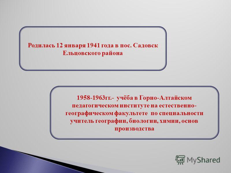 Родилась 12 января 1941 года в пос. Садовск Ельцовского района 1958-1963гг.- учёба в Горно-Алтайском педагогическом институте на естественно- географическом факультете по специальности учитель географии, биологии, химии, основ производства