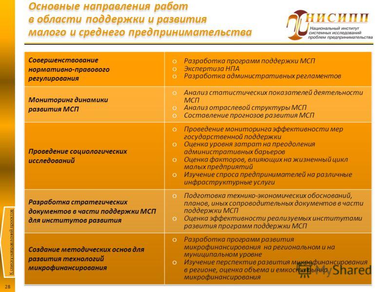 К списку направлений проектов 28 Основные направления работ в области поддержки и развития малого и среднего предпринимательства
