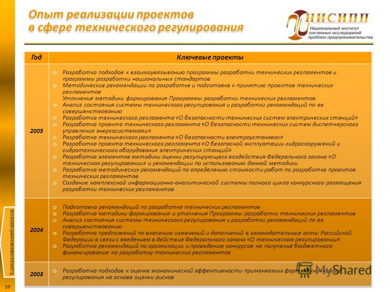 К списку направлений проектов 39 Опыт реализации проектов в сфере технического регулирования