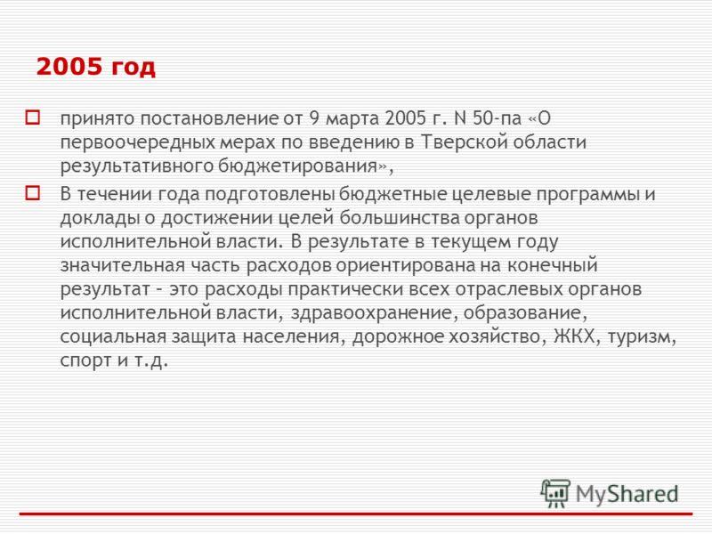 2005 год принято постановление от 9 марта 2005 г. N 50-па «О первоочередных мерах по введению в Тверской области результативного бюджетирования», В течении года подготовлены бюджетные целевые программы и доклады о достижении целей большинства органов