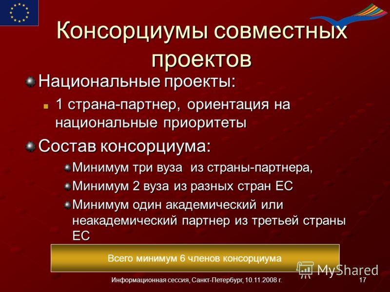 17Информационная сессия, Санкт-Петербург, 10.11.2008 г. Консорциумы совместных проектов Национальные проекты: 1 страна-партнер, ориентация на национальные приоритеты 1 страна-партнер, ориентация на национальные приоритеты Состав консорциума: Минимум