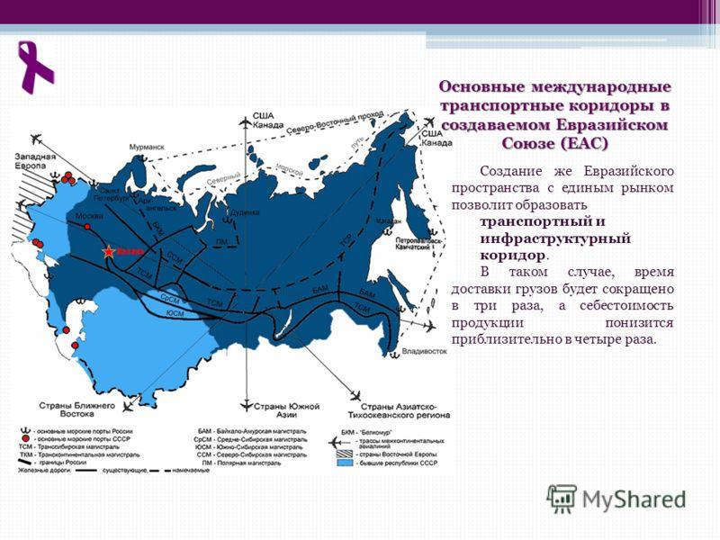 Основные международные транспортные коридоры в создаваемом Евразийском Союзе (ЕАС) Создание же Евразийского пространства с единым рынком позволит образовать транспортный и инфраструктурный коридор. В таком случае, время доставки грузов будет сокращен