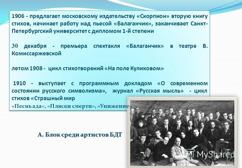 1906 - предлагает московскому издательству «Скорпион» вторую книгу стихов, начинает работу над пьесой «Балаганчик», заканчивает Санкт- Петербургский университет с дипломом 1-й степени 30 декабря - премьера спектакля «Балаганчик» в театре В. Комиссарж