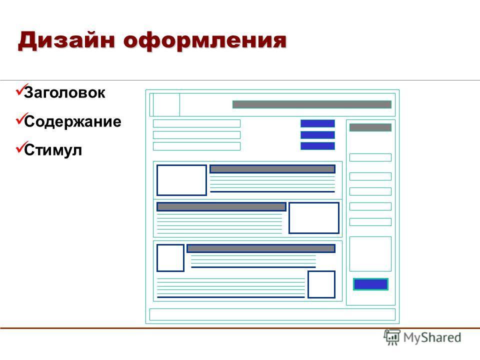 Заголовок Содержание Стимул Дизайн оформления