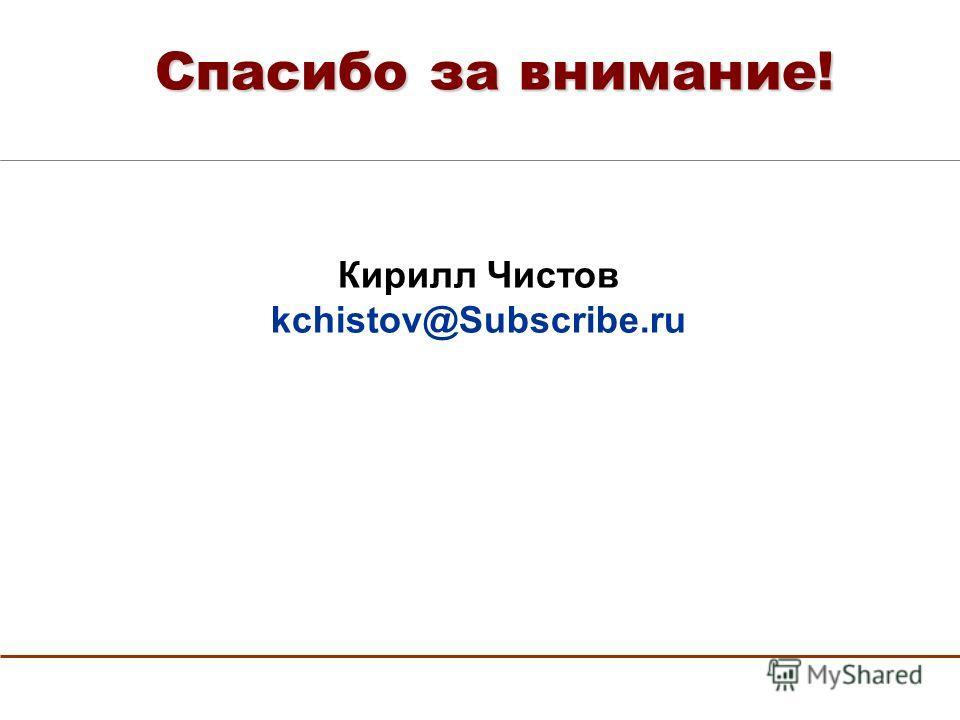 Спасибо за внимание! Кирилл Чистов kchistov@Subscribe.ru