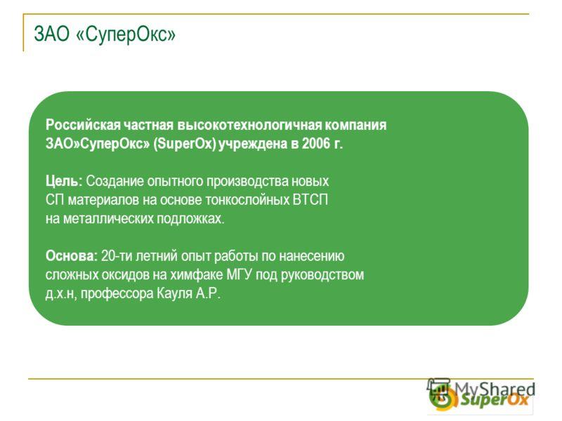 ЗАО «СуперОкс» Российская частная высокотехнологичная компания ЗАО»СуперОкс» (SuperOx) учреждена в 2006 г. Цель: Создание опытного производства новых СП материалов на основе тонкослойных ВТСП на металлических подложках. Основа: 20-ти летний опыт рабо