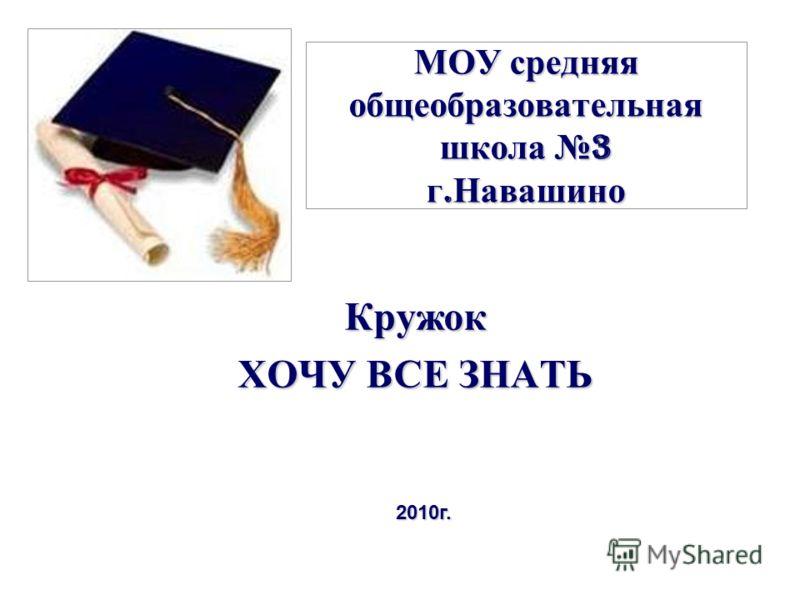 МОУ средняя общеобразовательная школа 3 г. Навашино Кружок ХОЧУ ВСЕ ЗНАТЬ 2010г.
