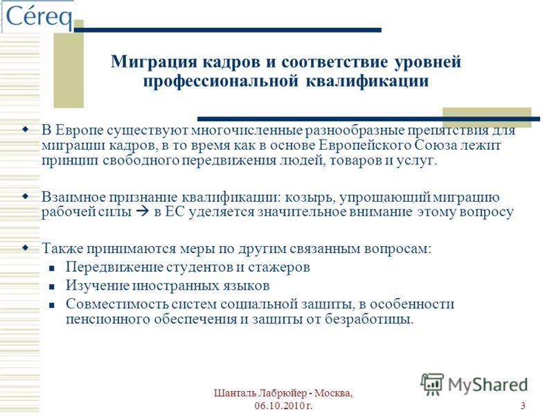 Шанталь Лабрюйер - Москва, 06.10.2010 г.3 Миграция кадров и соответствие уровней профессиональной квалификации В Европе существуют многочисленные разнообразные препятствия для миграции кадров, в то время как в основе Европейского Союза лежит принцип