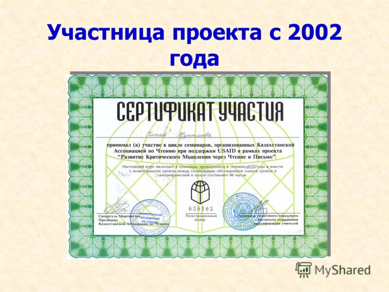 Участница проекта с 2002 года