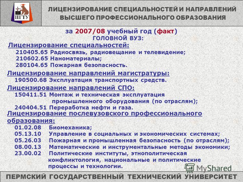 ГОЛОВНОЙ ВУЗ: Лицензирование специальностей: 210405.65 Радиосвязь, радиовещание и телевидение; 210602.65 Наноматериалы; 280104.65 Пожарная безопасность. ПЕРМСКИЙ ГОСУДАРСТВЕННЫЙ ТЕХНИЧЕСКИЙ УНИВЕРСИТЕТ за 2007/08 учебный год (факт) ЛИЦЕНЗИРОВАНИЕ СПЕ