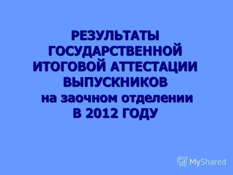 РЕЗУЛЬТАТЫ ГОСУДАРСТВЕННОЙ ИТОГОВОЙ АТТЕСТАЦИИ ВЫПУСКНИКОВ на заочном отделении В 2012 ГОДУ