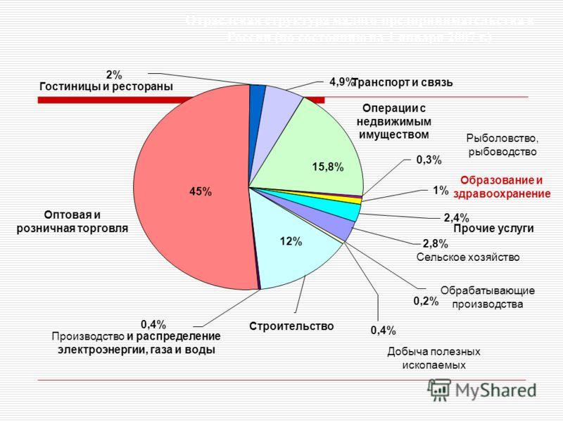2% 4,9% 15,8% 45% 12% 0,4% 0,2% 2,8% 2,4% 1% 0,3% Сельское хозяйство Рыболовство, рыбоводство Добыча полезных ископаемых Обрабатывающие производства Производство и распределение электроэнергии, газа и воды Оптовая и розничная торговля Гостиницы и рес