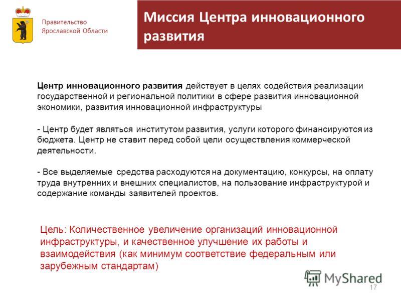 Миссия Центра инновационного развития Правительство Ярославской Области 17 Центр инновационного развития действует в целях содействия реализации государственной и региональной политики в сфере развития инновационной экономики, развития инновационной