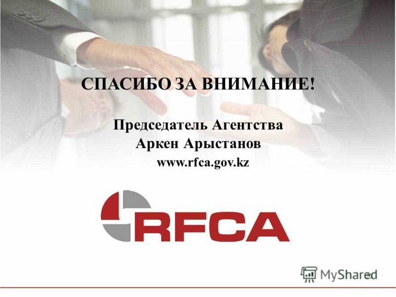 20 www.rfca.gov.kz СПАСИБО ЗА ВНИМАНИЕ! Председатель Агентства Аркен Арыстанов