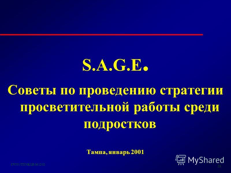 CW551/TTI/NK/LR/06/12/02 23 S.A.G.E. Советы по проведению стратегии просветительной работы среди подростков Тампа, январь 2001