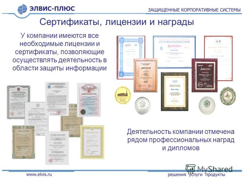 У компании имеются все необходимые лицензии и сертификаты, позволяющие осуществлять деятельность в области защиты информации Деятельность компании отмечена рядом профессиональных наград и дипломов Сертификаты, лицензии и награды
