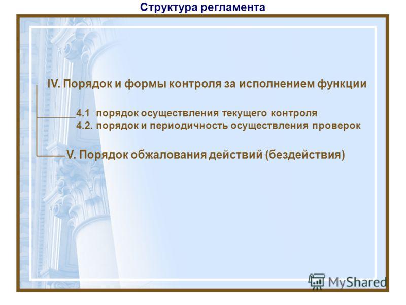 Структура регламента IV. Порядок и формы контроля за исполнением функции V. Порядок обжалования действий (бездействия) 4.1 порядок осуществления текущего контроля 4.2. порядок и периодичность осуществления проверок
