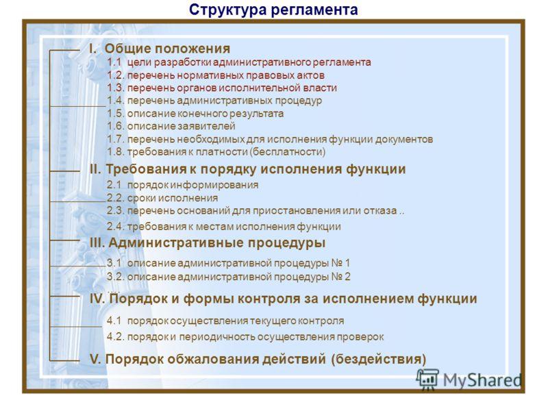 Структура регламента I. Общие положения II. Требования к порядку исполнения функции III. Административные процедуры IV. Порядок и формы контроля за исполнением функции V. Порядок обжалования действий (бездействия) 1.1 цели разработки административног