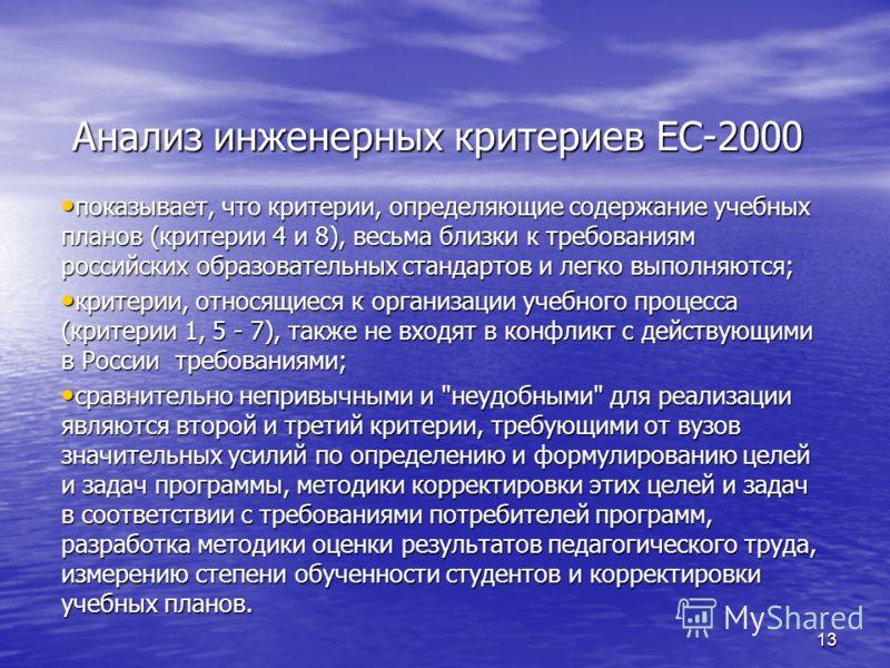 13 Анализ инженерных критериев EC-2000 показывает, что критерии, определяющие содержание учебных планов (критерии 4 и 8), весьма близки к требованиям российских образовательных стандартов и легко выполняются; показывает, что критерии, определяющие со