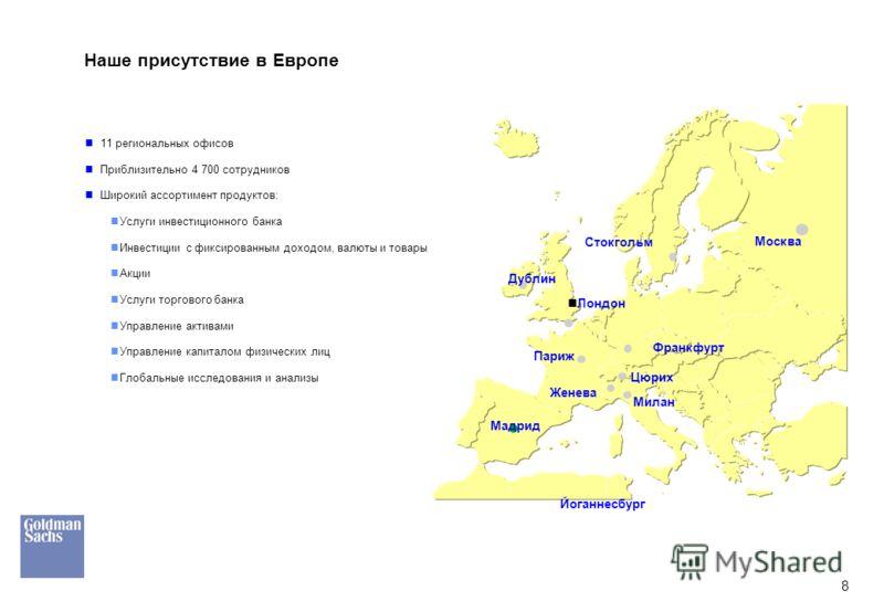 8 Наше присутствие в Европе 11 региональных офисов Приблизительно 4 700 сотрудников Широкий ассортимент продуктов: Услуги инвестиционного банка Инвестиции с фиксированным доходом, валюты и товары Акции Услуги торгового банка Управление активами Управ
