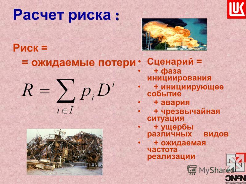 : Расчет риска : Риск = = ожидаемые потери Сценарий = + фаза инициирования + инициирующее событие + авария + чрезвычайная ситуация + ущербы различных видов + ожидаемая частота реализации