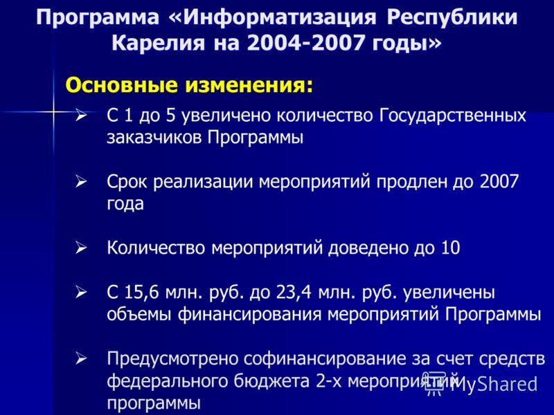 Программа «Информатизация Республики Карелия на 2004-2007 годы» Основные изменения: С 1 до 5 увеличено количество Государственных заказчиков Программы Срок реализации мероприятий продлен до 2007 года Количество мероприятий доведено до 10 С 15,6 млн.