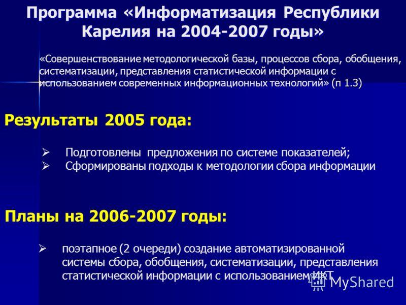 Программа «Информатизация Республики Карелия на 2004-2007 годы» Результаты 2005 года: Планы на 2006-2007 годы: поэтапное (2 очереди) создание автоматизированной системы сбора, обобщения, систематизации, представления статистической информации с испол
