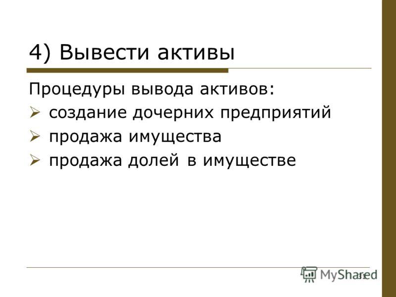 Процедуры вывода активов: