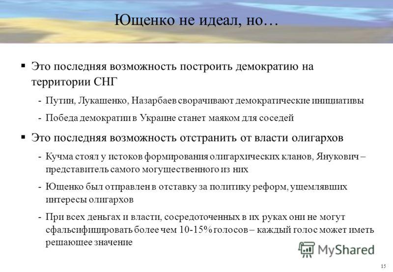 15 Ющенко не идеал, но… Это последняя возможность построить демократию на территории СНГ -Путин, Лукашенко, Назарбаев сворачивают демократические инициативы -Победа демократии в Украине станет маяком для соседей Это последняя возможность отстранить о
