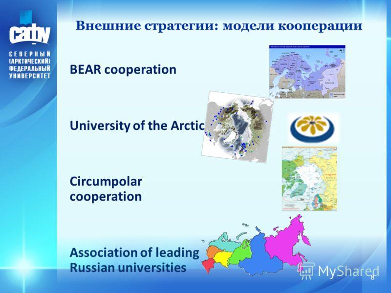 Внешние стратегии: модели кооперации BEAR cooperation University of the Arctic Circumpolar cooperation Association of leading Russian universities 8