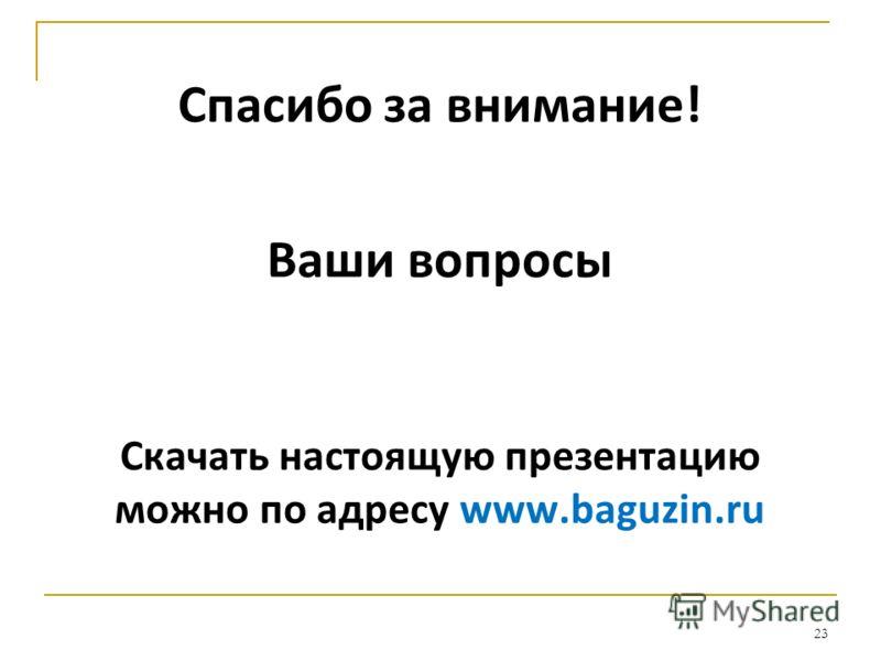 Спасибо за внимание! Ваши вопросы Скачать настоящую презентацию можно по адресу www.baguzin.ru 23