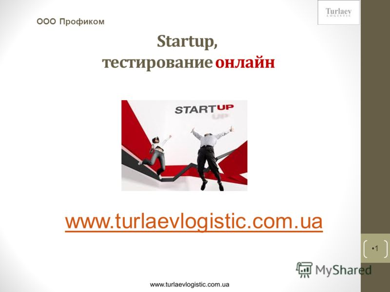 Startup, тестирование онлайн 1 ООО Профиком www.turlaevlogistic.com.ua
